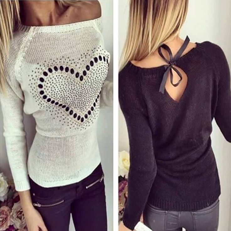 2017 Spring Fall Women Off Shoulder Knitted Sweaters Pullovers Long Sleeve Heart Pattern Casual Jumper Tops Plus Size Pull Femme
