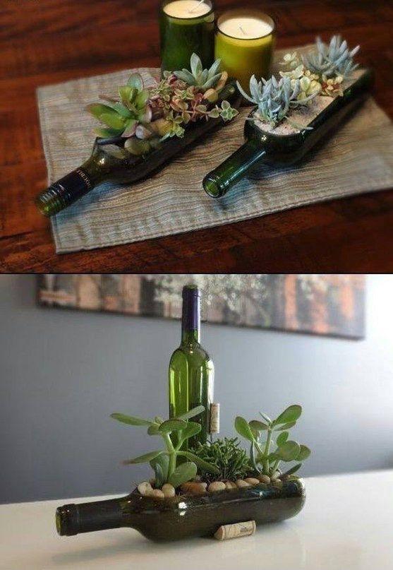 Суккуленты в бутылке... / Цветы, вазы и цветочные горшки / ВТОРАЯ УЛИЦА