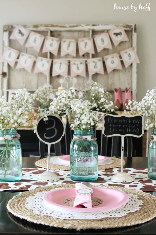 The blue mason jars with baby's breath