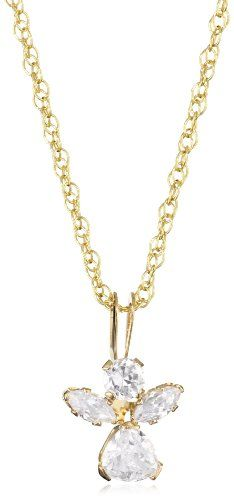 Jewelry Of Faith Girl's 10k Gold Angel Cubic Zirconia Pendant Necklace and Gold Filled Chain