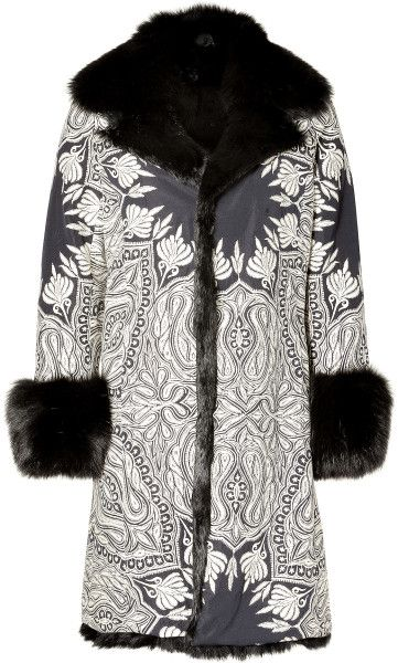 embroidered coats | Etro Whiteblack Embroidered Fox Fur Lined Coat in Black (white) - Lyst