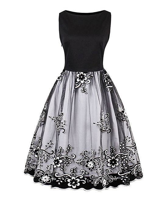 c269074e3209 Sucrefas Black Floral Sleeveless Fit & Flare Dress - Women | zulily ...