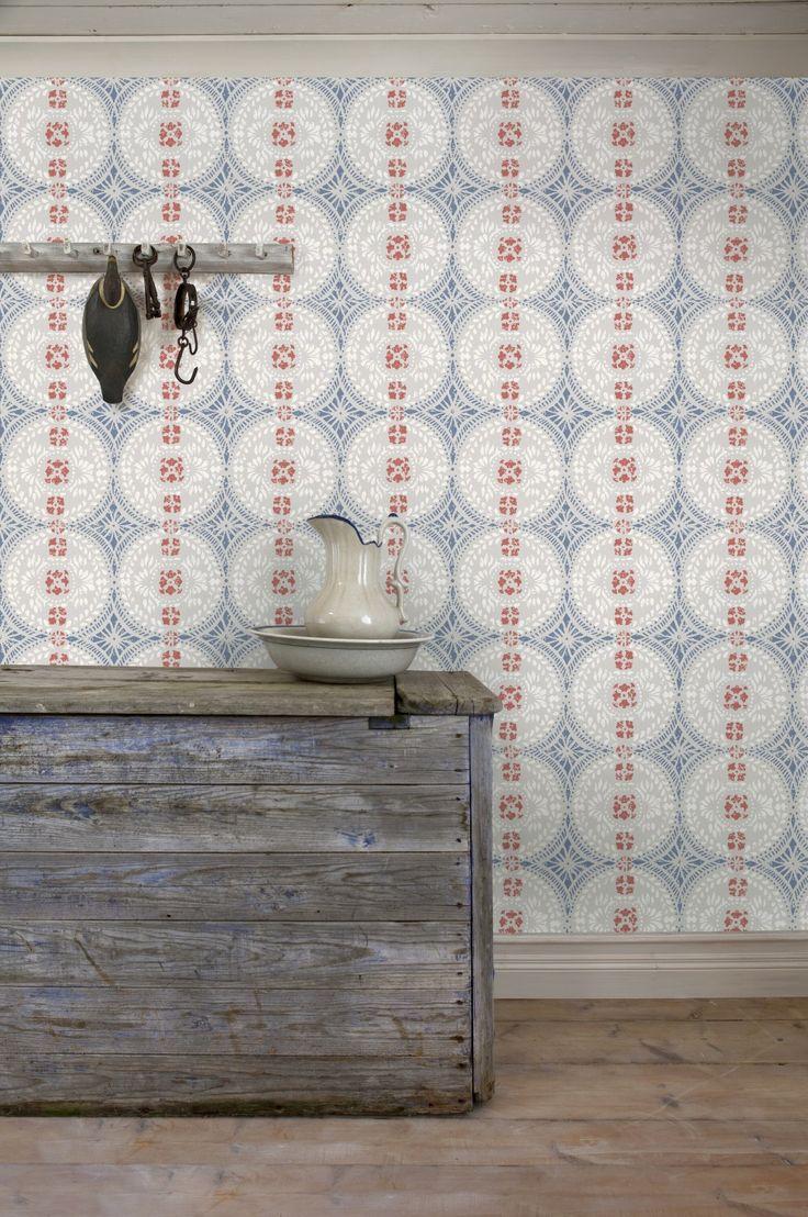'Oskar' wallpaper in Hälsingland from early 1800's, found on several farms in Järvsö region.