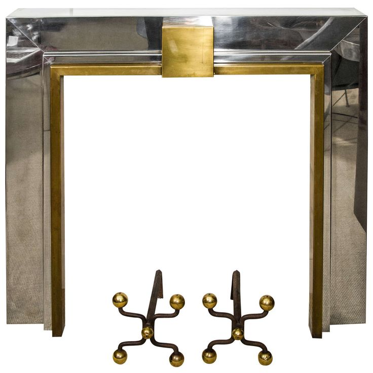 French Chrome and Brass Fireplace Mantle and Royere Style Chenets   See more antique and modern Fireplaces and Mantels at http://www.1stdibs.com/furniture/building-garden/fireplaces-mantels
