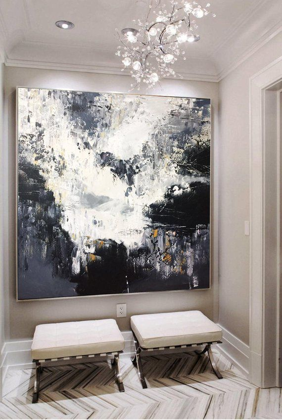 Large Abstract Oil Painting Oversized Painting Black And White Abstract Painting Black Painting White Painting Gray Painting Wall Art Canvas