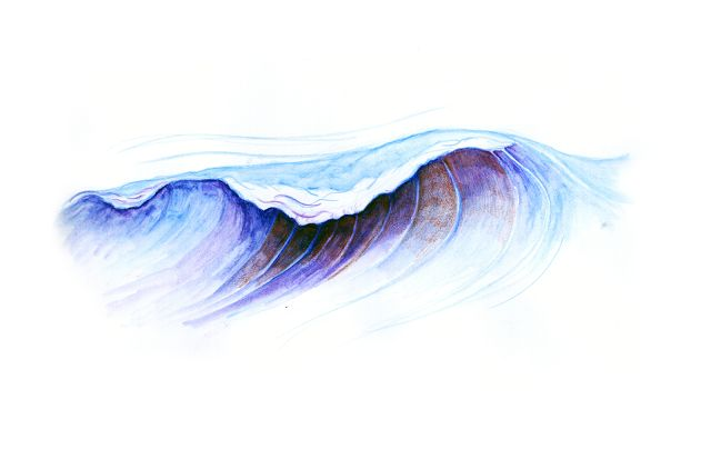 Wave #illustration done in watercolour pencil