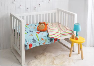 The Zoo nursery bed cover pack and scatter cushion is one the designs in the new 'Esk' manchester range created exclusively for Fantastic Furniture by KAS Australia. Price $69.