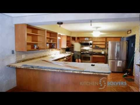 Kitchen Solvers Franchise Cabinet Refacing Time-Lapse - YouTube