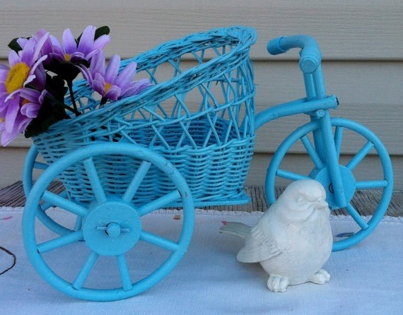 blue wicker flower basket www.socialwicker.com