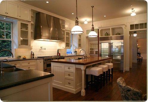 kitchenButcher Block, Kitchens Spaces, Dreams Kitchens, Range Hoods, Capes Cod Style, White Cabinets, Dream Kitchens, Block Islands, White Kitchens