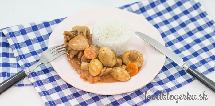 Burgundy lean pork with mashrooms and carrot - quick preparation