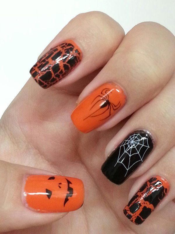 I think Betty can do the spider web or the spider.   Halloween nail art - 45 Cool Halloween Nail Art Ideas  <3 <3