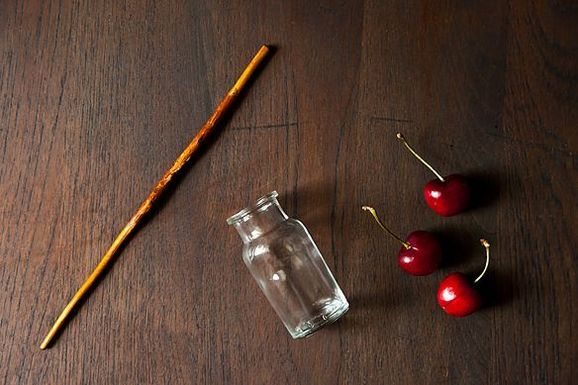 """An easy way to pit a cherry! ... A Tutorial by Kristy Mucci from the wonderful""""Food 52"""" site."""