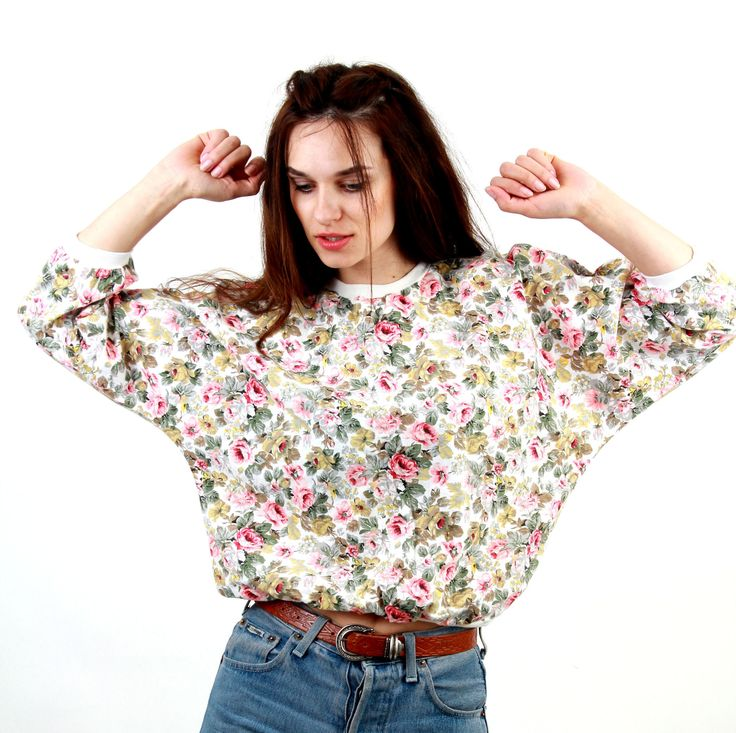 80's Romantic Blouse / Floral Blouse / Floral Jumper / Rose Print Top / Pastel Blouse / Casual Jumper / Cotton Blouse / by Ramaci on Etsy