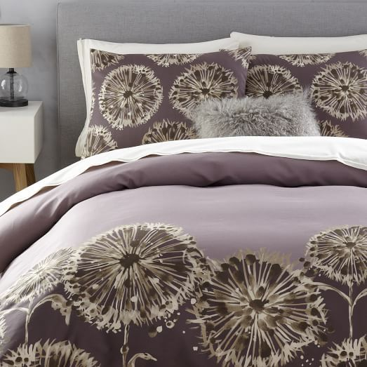 Dandelion Field Duvet Cover, Full/Queen, Dark Iris