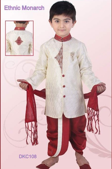 Off White And Maroon Brocade Dhoti Kurta  - Dhoti-Kurtas - Ethnics