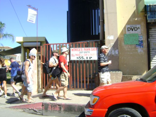Tourists walking in the streest of Belice City. More info at: http://es.wikipedia.org/wiki/Ciudad_de_Belice