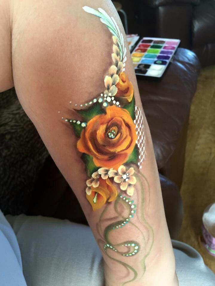Debz Mills face painting roses design #facepaintingideasforadults