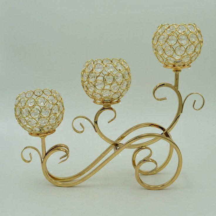 Venta al por mayor 3-armas de oro / plata del cristal plateado Tabla Candelabras sostenedor de vela de la boda del hotel de la decoración cena romántica