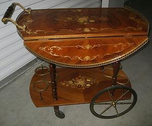 Antique Italian Inlaid Drop Leaf Rolling Tea Cart Trolley
