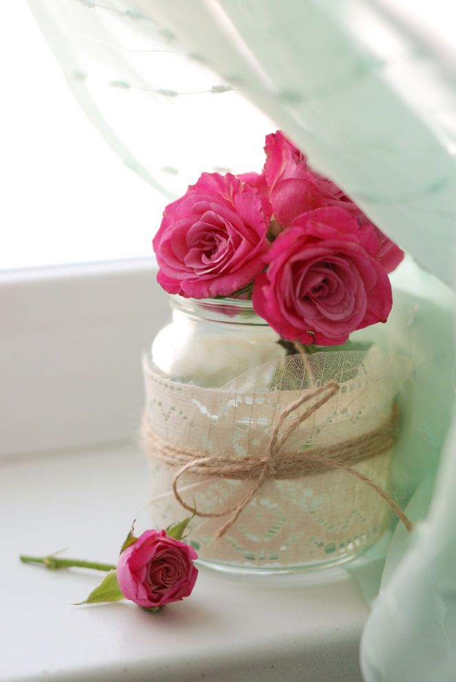 lace wrapped jar