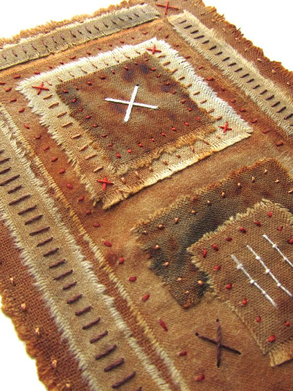Rustic Textile Art / Fiber Art - Hand Embroidered Mixed Media Original Artwork - Fragment no. 5
