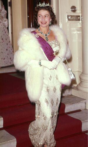 Queen Elizabeth II at the Belgian Embassy, looking stunning in diamonds and sequins.