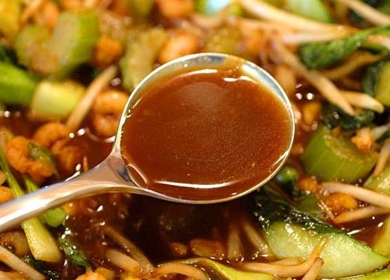 Adapted from Martin Yans Chinese Cooking for Dummies. This is my favorite stir-fry sauce. It makes enough for two meals. Having extra on hand makes for a quick meal. My son will actually eat vegetables he can dip in the sauce! WARNING about the amount of soy sauce. When I used Kikkoman soy sauce, I found this sauce far too salty. I now use Angostura, which is much lower in salt. When adding soy sauce, start with less than half the amount and slowly add more to taste. Using vegetable broth…