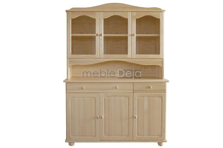 Kredens drewniany sosnowy z elementami szkła[27] Kredens drewniany wykonany w całości z litego drewna sosnowego. Jedynie tyły i dna szuflad są wykonane ze sklejki sosnowej/płyty pilśniowej. W górnych drzwiach umieszczone są szkła.  Elementy są w 100% drewniane, fronty mebli wykonane są z bezsęcznego drewna sosnowego. Produkt dostępny w pełnej gamie kolorystycznej. WYMIARY ZEWNĘTRZNE  szerokość: 133cm  wysokość: 190cm   głębokość: 47cm