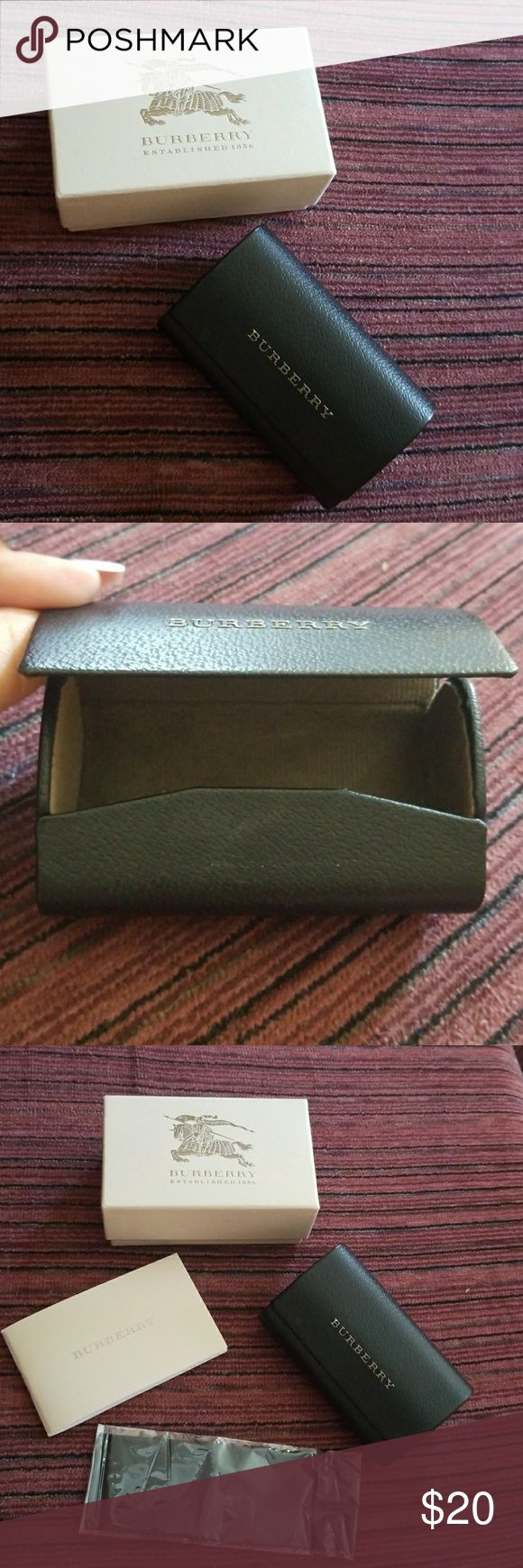 Burberry Sunglass Case Burberry Sunglass Case. (Sunglasses are not included). Comes with cloth, booklet, case and box. This case was for the sunglasses that FOLD- so it's smaller than your standard case. Please ask questions. Burberry Accessories Sunglasses