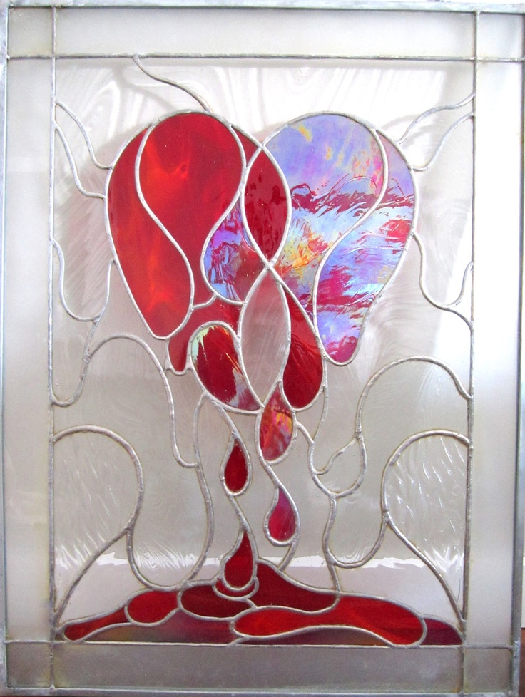 Weeping  Heart Stained Glass Window, Stained Glass Panel. $800.00, via Etsy.