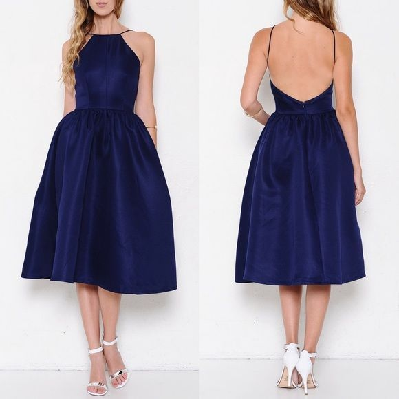 Navy blue fit and flare backless midi dress. Zip closure back. Gorgeous silhouette. Brand new. PRICE FIRM. NO TRADES.