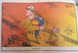 This clearly illustrates that without the firefighters the Blue Mountains 2013 bush fires devastation would have been much worse. Clearly they are superheros to local communities.