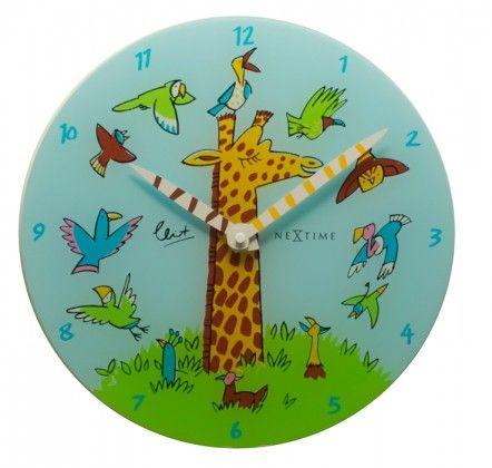 Giraffe Joy - hodiny, dětské nástěnné, kulaté (sklo, barevné)