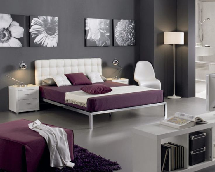 Awesome White And Purple Bedroom