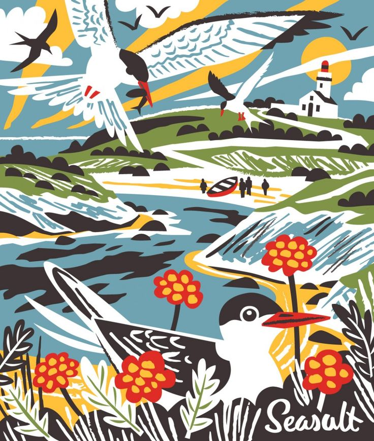 Belle Ile En Mer Terns print illustration by Matt Johnson for Seasalt Cornwall. Available now at: https://www.seasaltcornwall.co.uk/all-accessories/womens-accessories/jute-bags/jute-shopping-bag_belle_ile_terns.htm