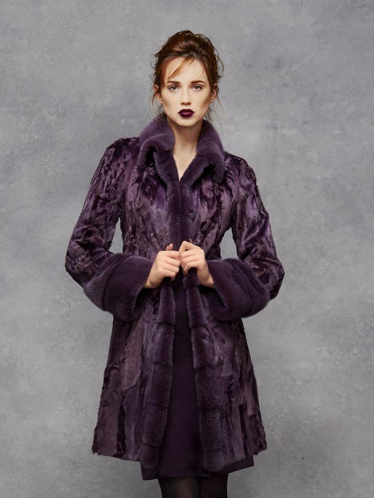 Aubergine Swakara Coat with Mink Collar and Cuffs...