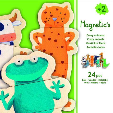 Krabice 24 magnetických dřevěných kusů zvířátek je navrženo tak, aby rozvíjely zvídavost a kreativitu těch nejmenších! Vaše děti se snaží spojit správně 3 kusy puzzlí, které tvoří zvíře podle svého výběru, nebo naopak, dát volný průchod své fantazii a vytvořit nejzábavnější zvíře, nejbarevnější,