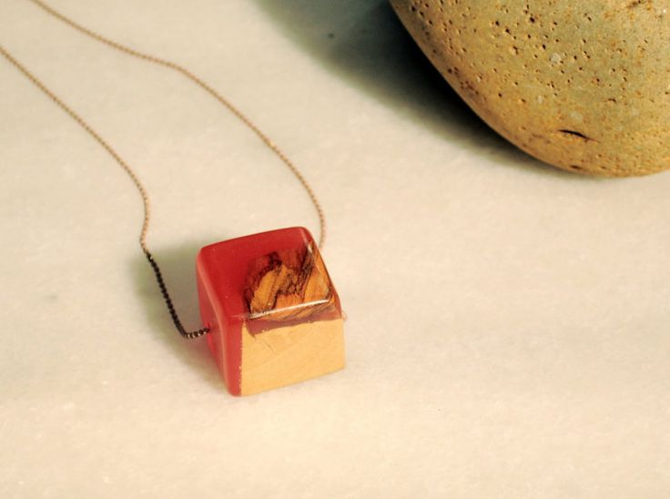 Red Cube Necklace Olive Wood Resin Pendant Geometry by MavouShop