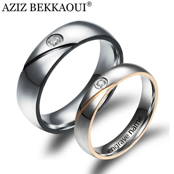 Couple Rings Engrave Name Wedding Rings For Women / Men CZ Diamond Loves Rings 316L Stainless Steel Engagement Promise Jewelry