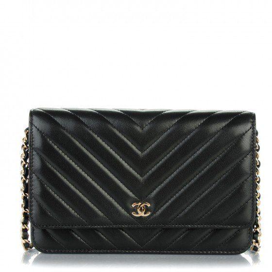 2dca176fcf17 CHANEL Lambskin Chevron Wallet On Chain WOC Black | #Goals | Chanel ...