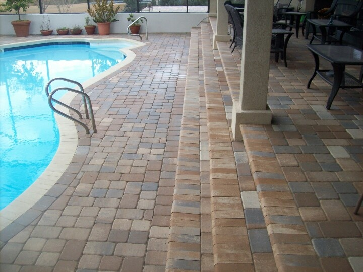 Paver overlay steps and pool coping hardscape and - Installing pavers around swimming pool ...