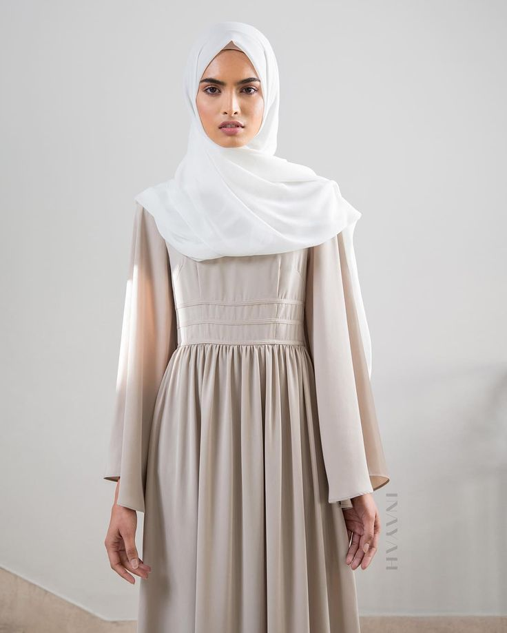 """""""Stone Maxi Dress With Binding Detail  Off-White Maxi Georgette Hijab www.inayah.co"""""""