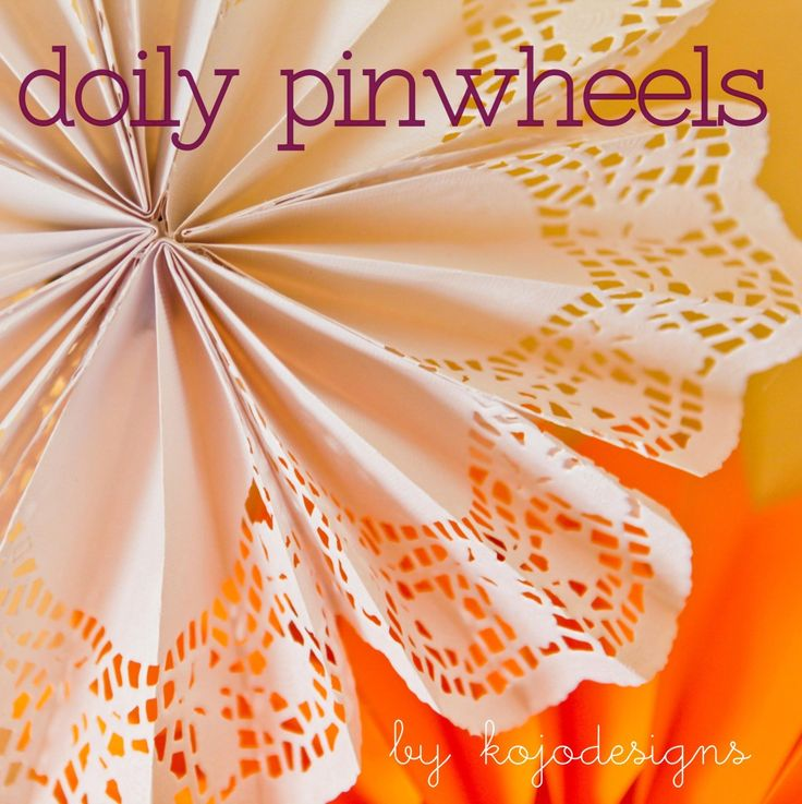 good idea and blog: Crafts Ideas, Pinwheels Paper, Good Ideas, Pinwheels Tutorials, Diy Doilies, Paper Doilies, Doilies Pinwheels, Kojo Tutorials, Diy Paper Pinwheels