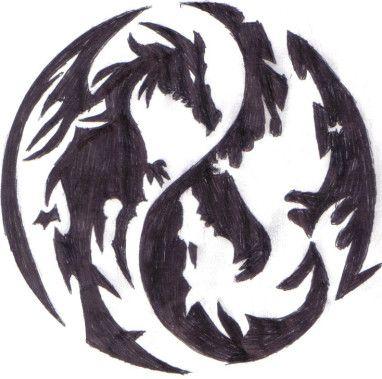 yin yang dragons by asisakininja.deviantart.com