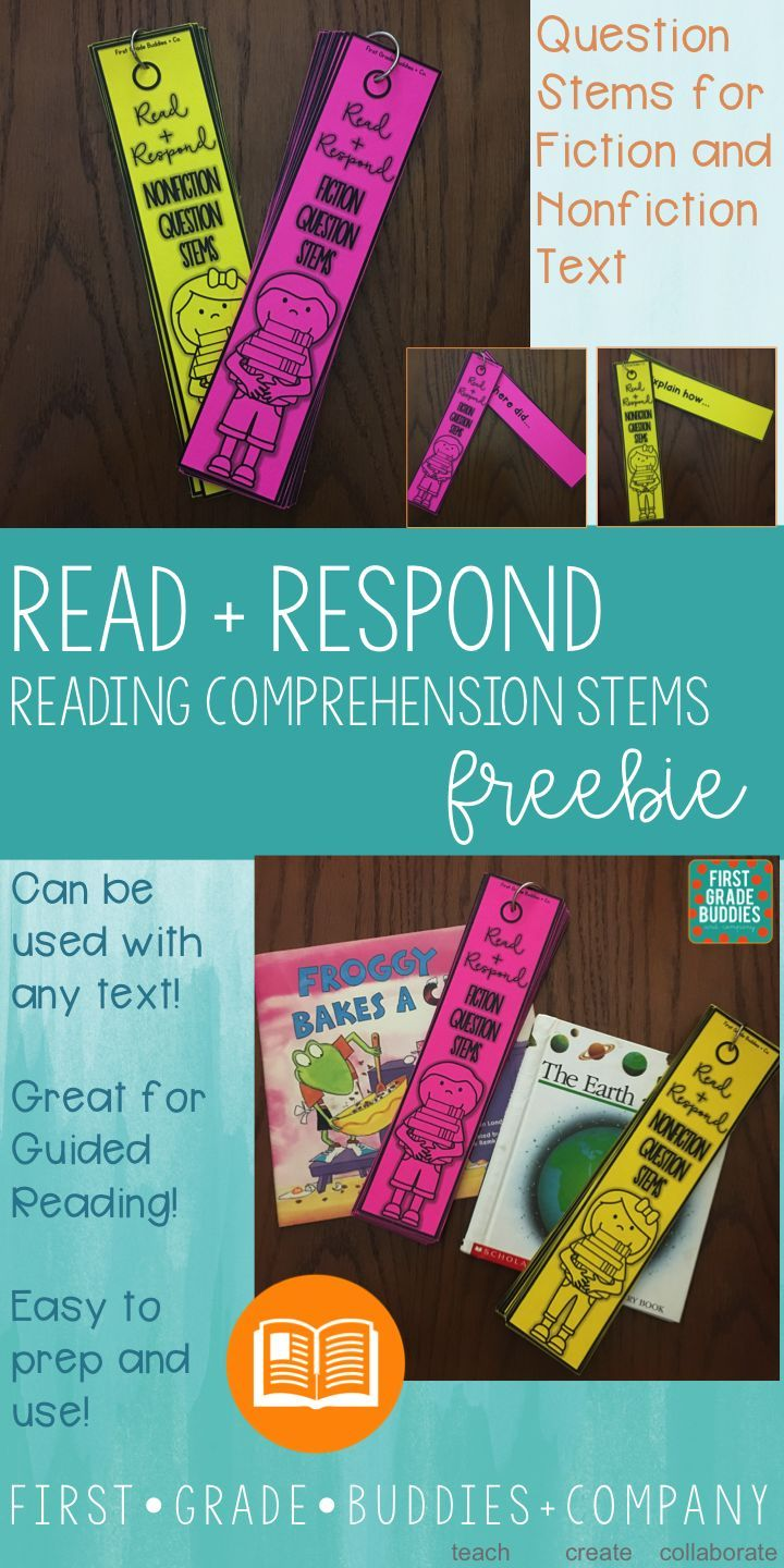 Comprehension Question Stem Cards {for Fiction + Nonfiction Text} Help your Kindergarten, 1st, and 2nd grade classroom or home school students increase their oral reading comprehension with this FREE download. These work with any text! Use the pack that works with the informational text or literary piece your students finished. Easy prep and great for use during guided reading! {primary grades - first, second - freebie}