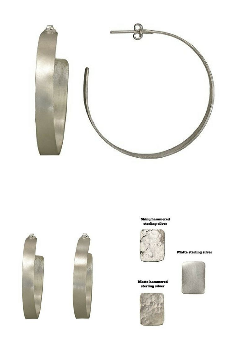 Handmade sterling silver thin large hoops.