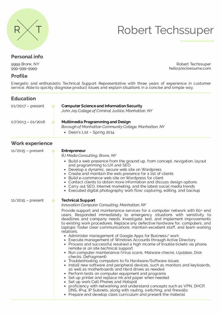 23 Technical Support Resume Examples in 2020 (With images
