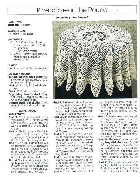 free crochet round pineapple tablecloth pattern