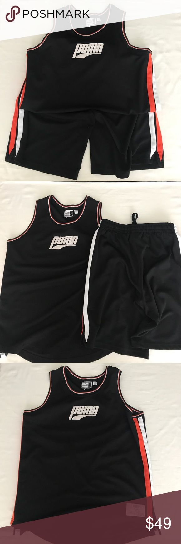 Puma tank and shorts. Great color combo. Puma tank and shorts. Great color combo.  Super quality. In nice condition.  Made of 100% polyester.  Great basketball or beach summer set you can go wrong with. Size large. Puma Shirts Tank Tops